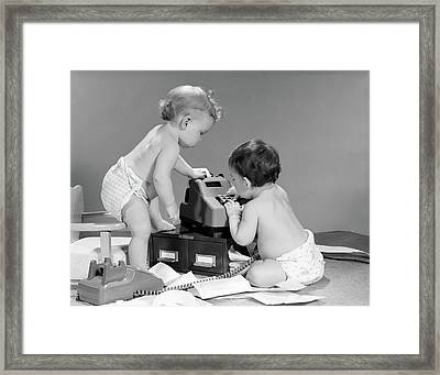 1960s Pair Of Babies Around Adding Framed Print