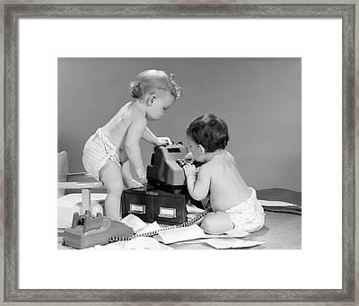 1960s Pair Of Babies Around Adding Framed Print