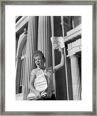 1960s Paperboy Hawking Selling Newspaper Framed Print