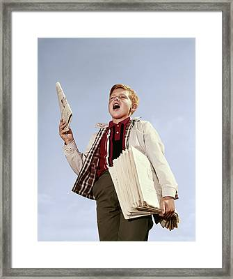 1960s Paperboy With Stack Newspapers Framed Print