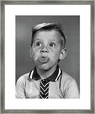 1960s Portrait Boy With Blond Hair & Framed Print