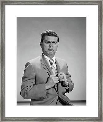 1960s Portrait Middle Aged Man Stern Framed Print