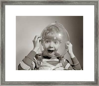 1960s Portrait Of Boy Wearing Bubble Framed Print