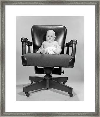 1960s Portrait Of Chubby Bald Baby Framed Print