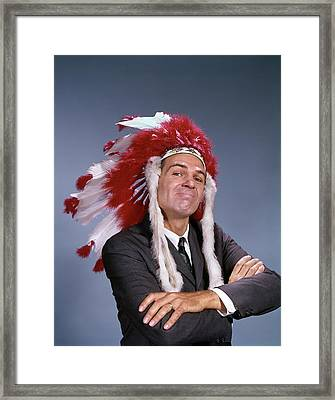 1960s Proud Man Wearing Native American Framed Print