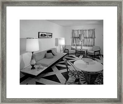 1960s Recreation Room Interior Framed Print