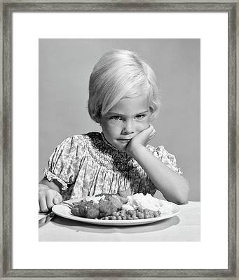 1960s Sad Blonde Girl Unhappy With Food Framed Print