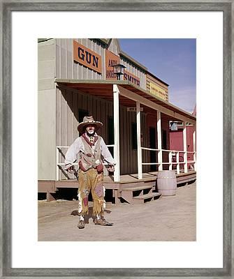 1960s Sad Clown In Cowboy Costume Framed Print