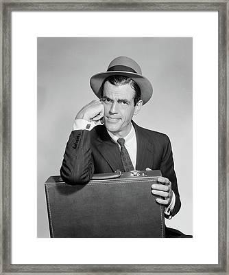 1960s Salesman Holding Briefcase In Lap Framed Print
