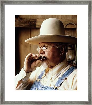 1960s Senior Man Wearing Wide Brim Hat Framed Print