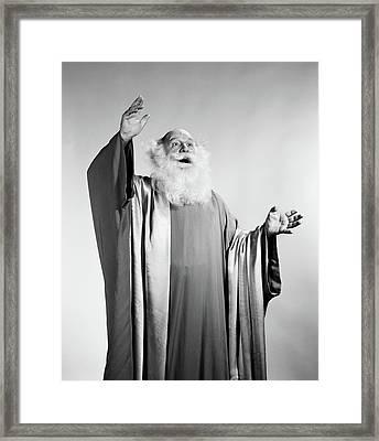 1960s Senior Man White Beard Long Robes Framed Print