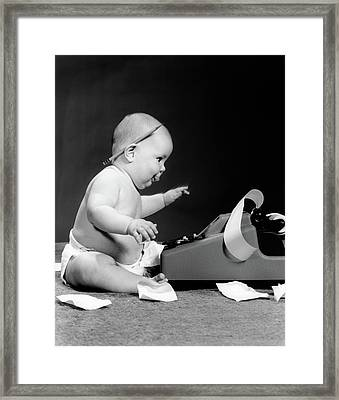 1960s Side View Of Chubby Baby Seated Framed Print