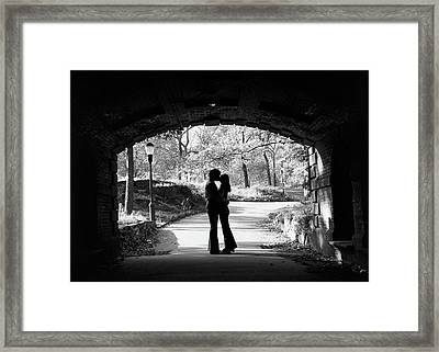 1960s Silhouette Of Anonymous Young Framed Print
