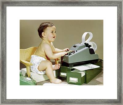 1960s Smiling Accountant Office Worker Framed Print