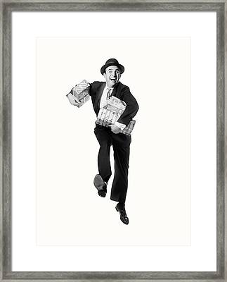 1960s Smiling Happy Man Carrying Arms Framed Print