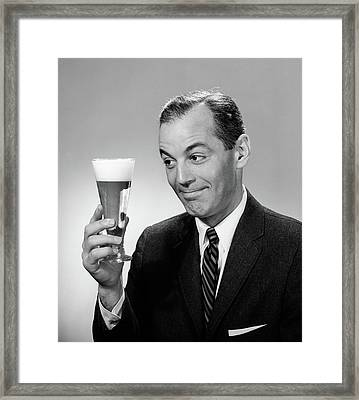 1960s Smiling Man In Suit And Tie Framed Print