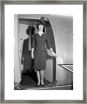 1960s Smiling Stewardess Standing Framed Print