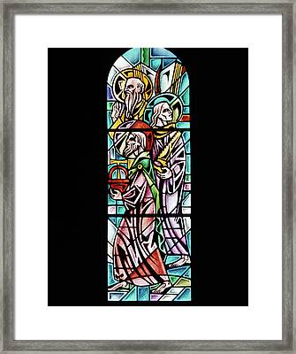 1960s Stained Glass Window Design Framed Print