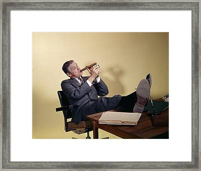 1960s Successful Businessman Sitting Framed Print