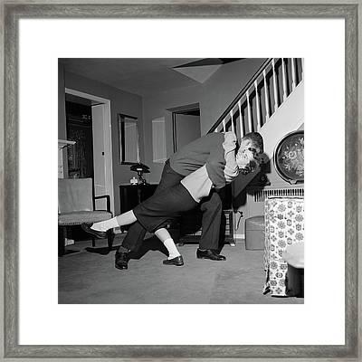 1960s Teenage Couple Boy & Girl Dancing Framed Print