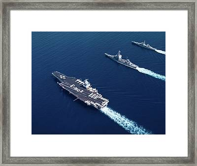 1960s Three Naval Ships On Parallel Framed Print