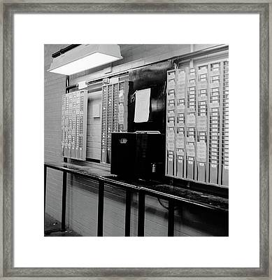 1960s Time Clock & Card Slots In Large Framed Print