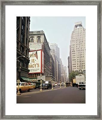 1960s Traffic Cars Trucks Taxis Framed Print