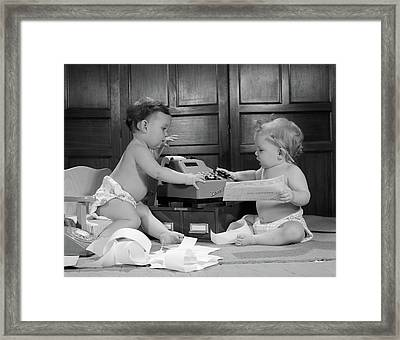 1960s Two Babies Wearing Diapers Framed Print