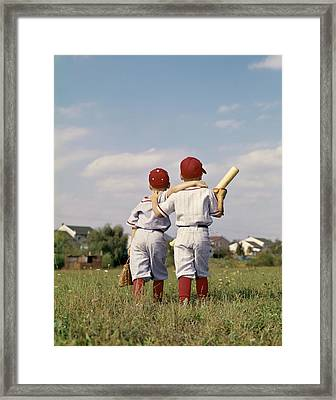 1960s Two Boys Brothers Teammates Framed Print