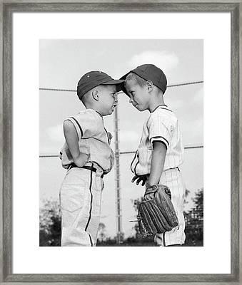 1960s Two Boys Playing Baseball Arguing Framed Print