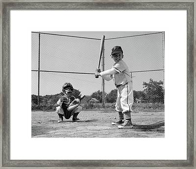 1960s Two Boys Playing Baseball Batter Framed Print