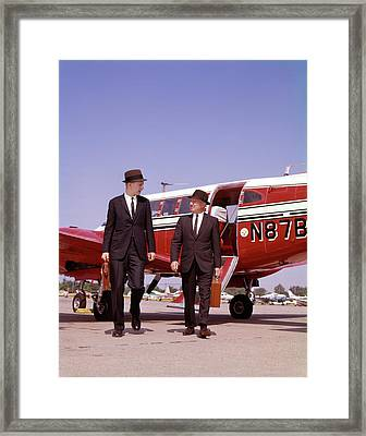 1960s Two Businessmen In Suits And Hats Framed Print