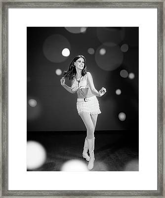 1960s Woman Dancing In White Fringed Framed Print