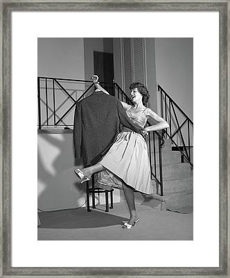 1960s Woman In Cocktail Dress Dancing Framed Print