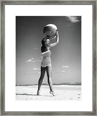 1960s Woman In Stripes Swim Suit Framed Print