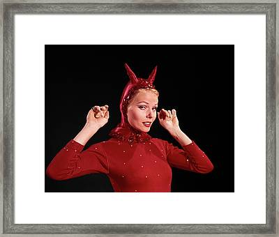 1960s Woman Red Devil Costume Framed Print