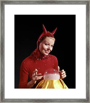 1960s Woman Wearing Red Devil Costume Framed Print