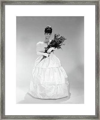 1960s Young Woman In Evening Dress Framed Print