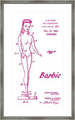 1961 Barbie Doll Patent Art 3 Framed Print by Nishanth Gopinathan