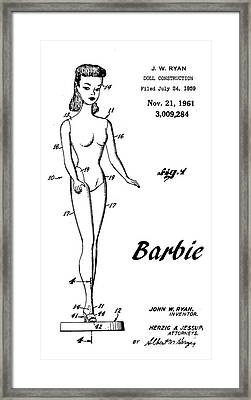 1961 Barbie Doll Patent Art 4 Framed Print by Nishanth Gopinathan