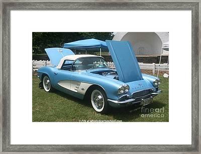 1961 Blue Jewel Metallic Corvette Framed Print