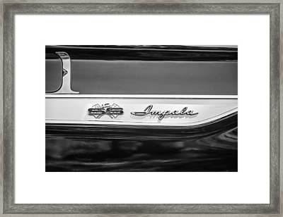 1961 Chevrolet Bel Air Impala Bubble Top Emblem -0603bw Framed Print by Jill Reger