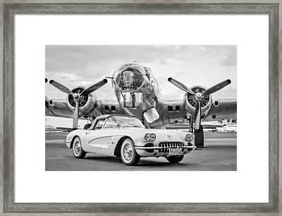 1961 Chevrolet Corvette - B-17 Bomber Framed Print by Jill Reger
