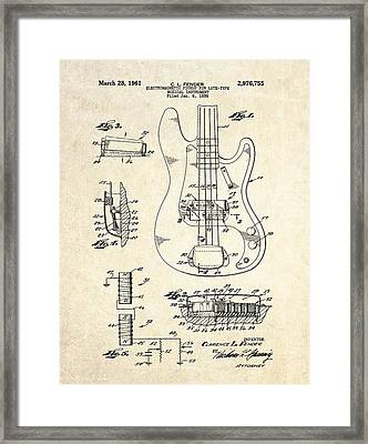 1961 Fender Bass Pickup Patent Art Framed Print