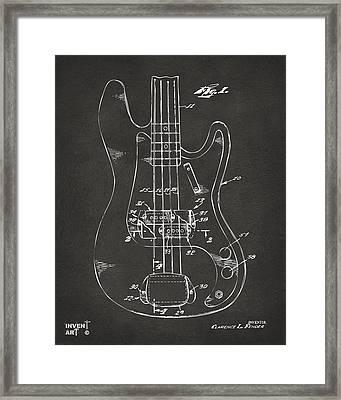 1961 Fender Guitar Patent Minimal - Gray Framed Print