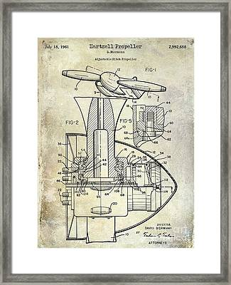 1961 Hartzell Propeller Patent Blueprint Framed Print by Jon Neidert