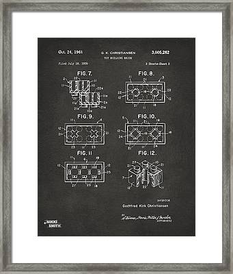 1961 Lego Brick Patent Art - Gray Framed Print