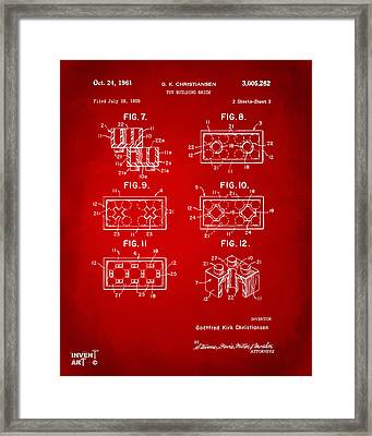 1961 Lego Brick Patent Art Red Framed Print