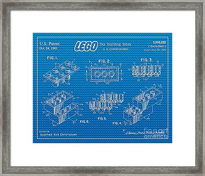 1961 Lego Building Blocks Patent Art 2 Framed Print by Nishanth Gopinathan