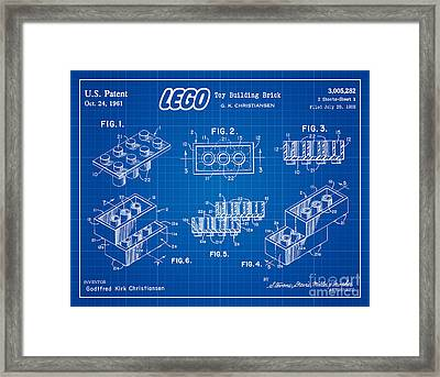 1961 Lego Building Blocks Patent Art 3 Framed Print by Nishanth Gopinathan